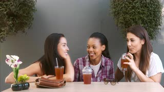 4k-wide-video-of-happy-and-attractive-multicultural-group-of-female-friends-chatting-and-laughing-together-in-a-small-garden-cafe-juice-bar-or-home-garden_eklecvhv__S0000