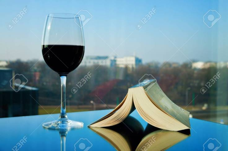 Book and wine - time for relax