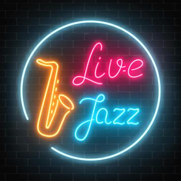 Neon jazz cafe with live music and saxophone glowing sign on a dark brick wall background.